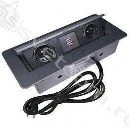 Электроустановочные изделия - Блок розеток выдвижной горизонт, 2 розетки EURO, 2 USB 250В, max 2700Вт, кабель , 0