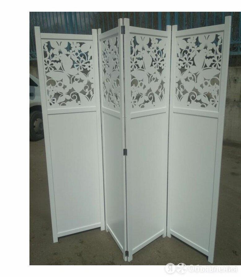Ширма складная 4 створки из дерева Бабочки белая по цене 18500₽ - Ширмы, фото 0