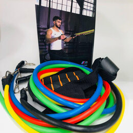 Эспандеры и кистевые тренажеры - Набор трубчатых эспандеров PRO, 11 предметов, нагрузка до 45 кг, 0