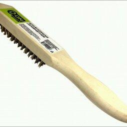 Наборы инструментов и оснастки - 3-ON Щетка металлическая с деревянной ручкой, 4-х рядная, 20-01-004, 0