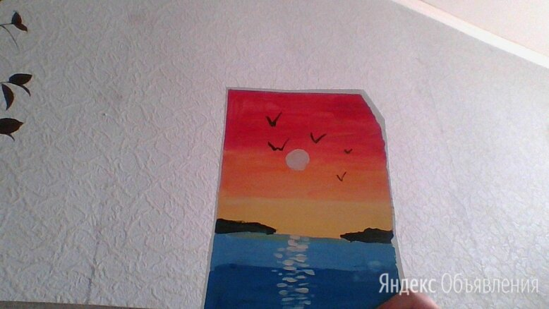 Закат масляной пастелью по цене 120₽ - Картины, постеры, гобелены, панно, фото 0