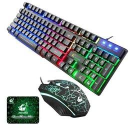 Комплекты клавиатур и мышей - Проводная клавиатура, коврик, мышь ZIYOU LANG T5 комплект, 0