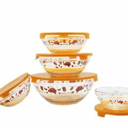 Бокалы и стаканы - Набор стеклянных салатников с крышками GLSA-5-001, 0
