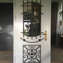 Входные двери - Входная дверь стальная с кованой решёткой, 0