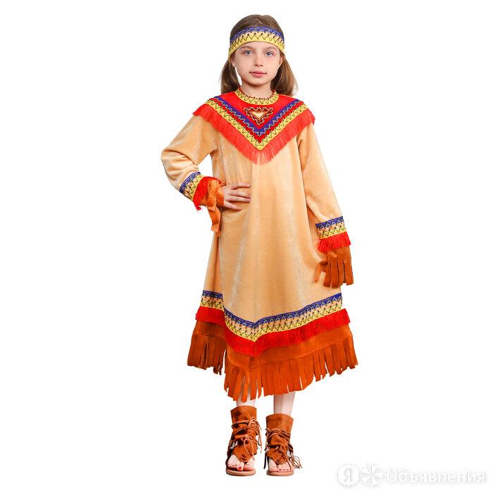 Карнавальный костюм 'Индеец девочка', платье, головной убор, р. 40, рост 152 см по цене 2022₽ - Карнавальные и театральные костюмы, фото 0