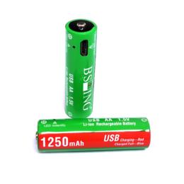 Батарейки - Аккумуляторные батарейки AA, micro USB, 1250 mAh, 1.5V, Li-ion (2 шт.), 0