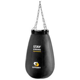 Тренировочные снаряды - Груша боксёрская EFFORT PRO, металлическое кольцо и цепь, 55 см, d=40 см, 16 кг, 0