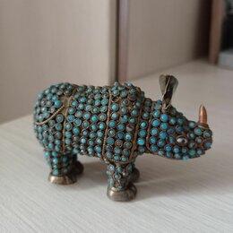 Статуэтки и фигурки - Бронза бирюза коралл Китай конец 19 носорог-единорог, 0