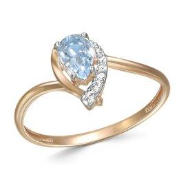 Кольца и перстни - Кольцо с топазом и 6 фианитами из красного золота, 0
