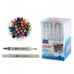 Письменные и чертежные принадлежности - Набор маркеров для скетчинга двусторонних LINDO,36цв., Main colors 2 (основные ц, 0