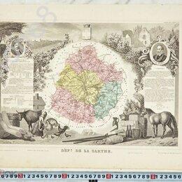 Картины, постеры, гобелены, панно - Антикварная карта XIX века.Левассер.Состояние.В коллекцию, 0
