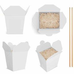 Одноразовая посуда - Коробка 700 мл белая без печати для лапши WOK, 0