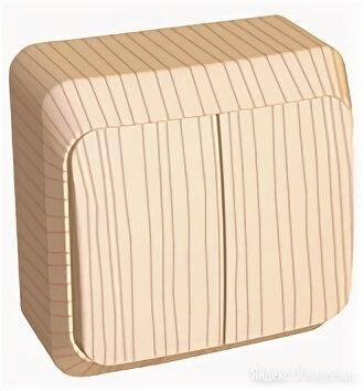 Выключатель двухклавишный ЭТЮД открытой установки (сх.5) сосна BA10-002D Schn... по цене 307₽ - Товары для электромонтажа, фото 0