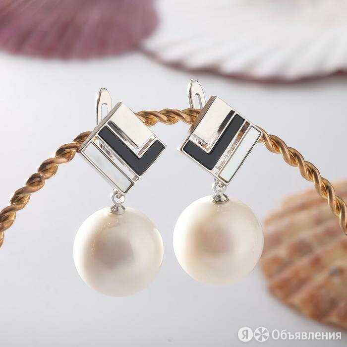 """Серьги """"Майорка"""" ромб, цвет белый в серебре по цене 1188₽ - Серьги, фото 0"""