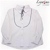 Комплекты и форма - Школьная блузка бежевая для девочки с кокеткой и бантом, 0