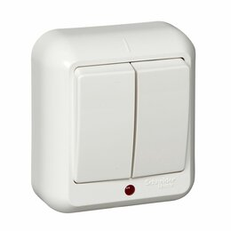 Пускатели, контакторы и аксессуары - Выключатель 2кл о/у ПРИМА с индикацией белый Schneider Electric, 0
