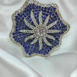 Кольца и перстни - Эксклюзивное золотое кольцо с бриллиантами и сапфирами, 0