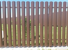 Заборы и ворота - Металлический штакетник коричневый шоколад, 0