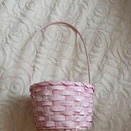 Корзины, коробки и контейнеры - Розовая плетеная корзина, 0
