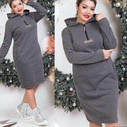 Платья - Тёплое трикотажное платье большого размера, 0