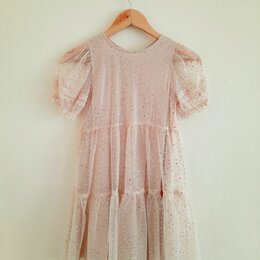 Платья и сарафаны - Платье для девочки Zara, из прозрачной ткани с блестками, р.134, 0