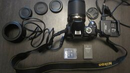 Фотоаппараты - Фотоаппарат зеркалка Nikon D3000 рабочий,комплект, 0