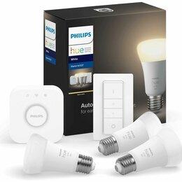Лампочки - Упаковка светодиодных ламп 3 шт philips hue white, e27, a60, 9вт, 0