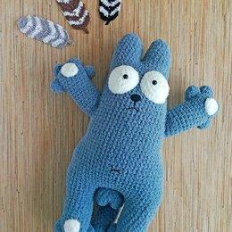 Мягкие игрушки - Кот Саймона крючком из плюшевой пряжи, 0