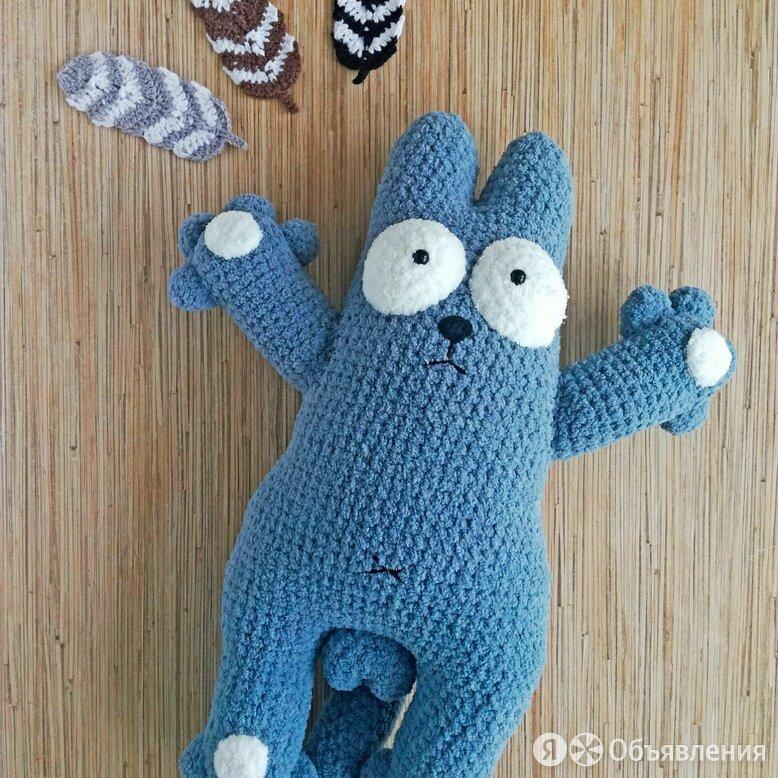 Кот Саймона крючком из плюшевой пряжи по цене 1400₽ - Мягкие игрушки, фото 0