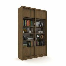 Шкафы, стенки, гарнитуры - Библиотека-купе Вместительная  2 стекло+ЛДСП Венге Темный, 0