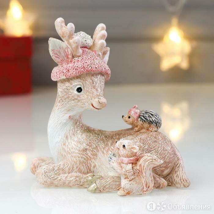 """Сувенир полистоун """"Маленький оленёнок с белочкой и ёжиком"""" блеск розовый 10,5... по цене 1162₽ - Статуэтки и фигурки, фото 0"""