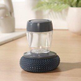 Мыльницы, стаканы и дозаторы - Щётка для мытья посуды, с дозатором для моющего средства, цвет серый, 0