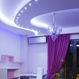 Потолки и комплектующие - Двухуровневые натяжные потолки с подсветкой для кухни гостиной, 0