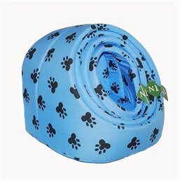 Лежаки, домики, спальные места - N1 Лежанка-ракушка 1  голубые лапки 30*25*28см, 0