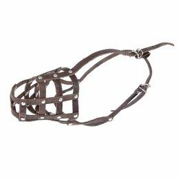 Намордники и недоуздки  - Намордник кожаный 'Зооник' 5 (немецкая овчарка, терьер), длина по носу 11 см,..., 0