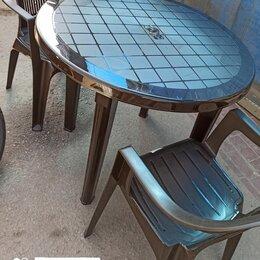 Комплекты садовой мебели - Садовый комплект мебели из пластика Вена на 2 персоны шоколад (новый), 0