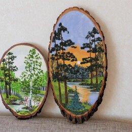 Картины, постеры, гобелены, панно - Картины панно из каменной крошки на срезе дерева, 0