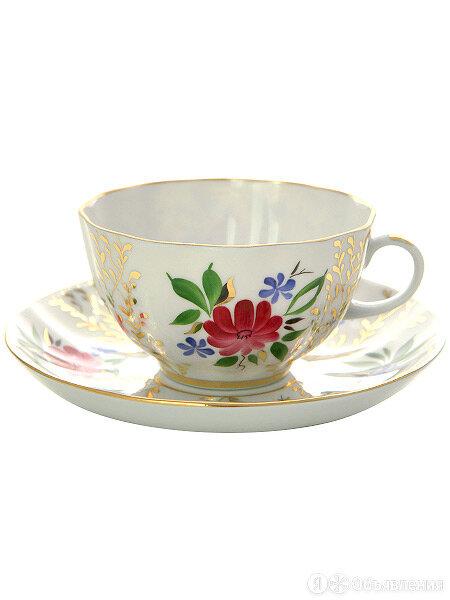 """Чашка с блюдцем чайная форма """"Тюльпан"""", рисунок """"Золотые травки"""", Императорск... по цене 1799₽ - Кружки, блюдца и пары, фото 0"""