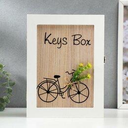 """Настенные ключницы и шкафчики - Ключница дерево 6 крючков """"Велосипед с цветами"""" 26х19,5х5,5 см, 0"""