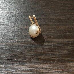 Серьги - Золотые серьги ереванский ювелирный завод 583 пробы с жемчугом, 0