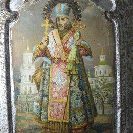 Иконы - икона Иоасаф белгородский, письмо на жести, царская Россия, 0