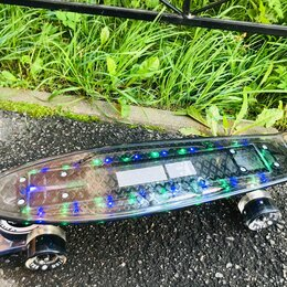 Скейтборды и лонгборды - Пенни борд прозрачный с подсветкой, 0