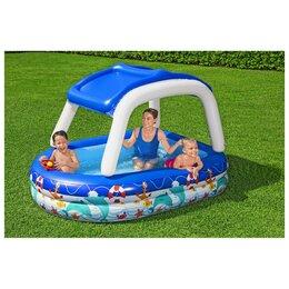 Бассейны - Бассейн надувной детский Sea Captain Family Pool, 213 x 155 x 132 см, с навесом, 0