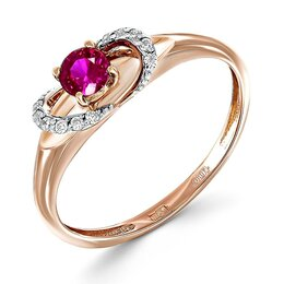 Кольца и перстни - Кольцо с рубином и 12 фианитами из красного золота, 0