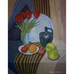 Картины, постеры, гобелены, панно - Декоративный натюрморт с тюльпанами и айвой, 0