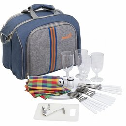 Наборы для пикника - Набор для пикника на 4 персоны синий/серый HS-425S-(4)BG Helios, 0