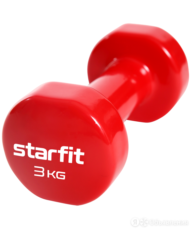 Гантель виниловая Core DB-101, 3 кг,  красный, Starfit по цене 1139₽ - Защита и экипировка, фото 0