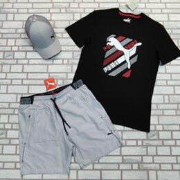 Спортивные костюмы - Комплект футболка и шорты Puma черный с серым, 0