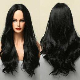 Аксессуары для волос - Парик волнистый длинный без челки Черного цвета, 0