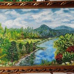 Картины, постеры, гобелены, панно - Авторская картина маслом, новая. Пейзаж Сибири. Холст на ДВП37х76, 0